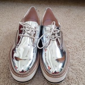 NWT! Zara Silver Size 41/10 Platform Sneakers